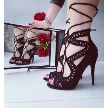 Sandalo Donna Camosciato Con Lacci