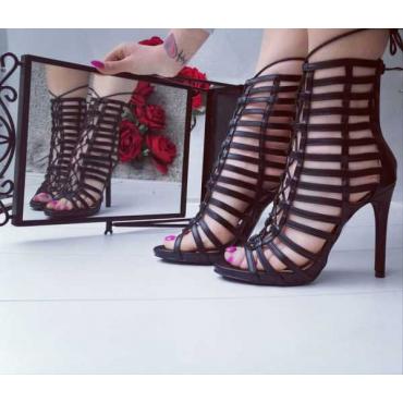 Sandalo Nero Traforato Con Zip Anteriore E Lacci ,New Collection 2019