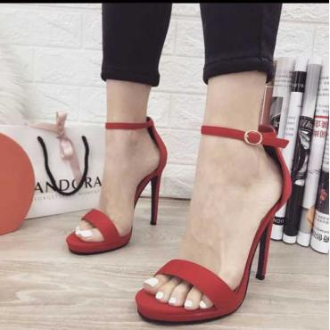 Sandalo Donna Tacco A Spillo Bracciale Alla Caviglia E Plato Rosso