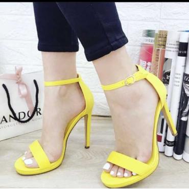 Sandalo Donna Tacco A Spillo Bracciale Alla Caviglia E Plato  Giallo