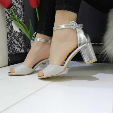 Sandalo Donna Con Tacco  E Fascia Larga  Argento