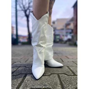 Stivale Bianco Con Risvolto
