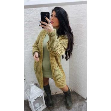 Cardigan Con Tasca Lana Doppia
