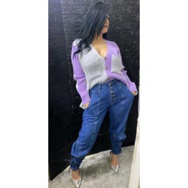 Jeans Donna Con Laccia Alla Caviglia