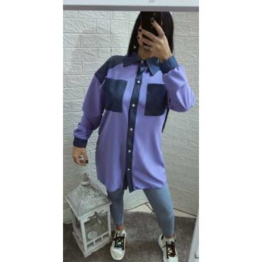 Camicia In Cotone Con Tasche Collo E Maniche In Jeans