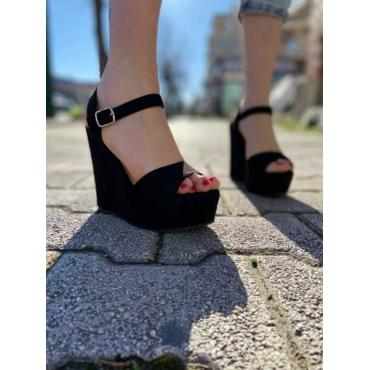 Sandalo Zeppa Con Cinturino Alla Caviglia Apeto Dietro