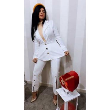 Completo Donna Giacca E  Pantalone Con  Spacco E Bottoni Oro