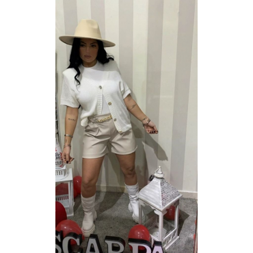 Cardigan In Filo Mezza Manica