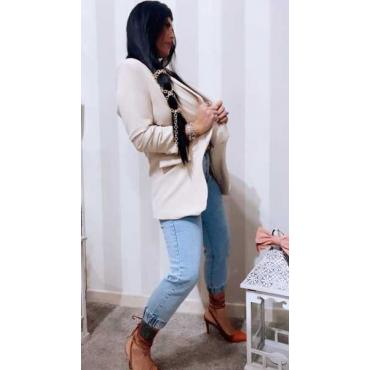Jeans Vita Alta Con Elastico Alla Caviglia