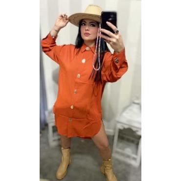 Camicia Donna Over Size Con Bottoni Oro