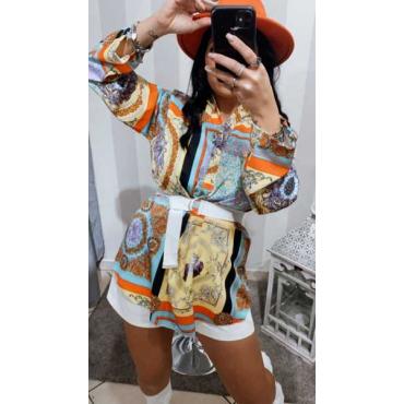 Camicia A Fantasia Collo Coreano  Vestibilità Over Size