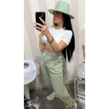 Pantalone Cotone Con Cinta Alla Caviglia