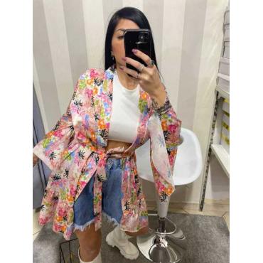 Kimono A Fiori Manica Larga