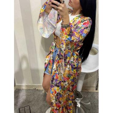 Kimono Lungo A Fiori Manica  Larga