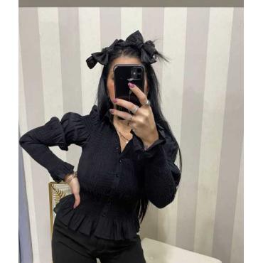 Camicia Donna Cotone Elastica Drappeggiata