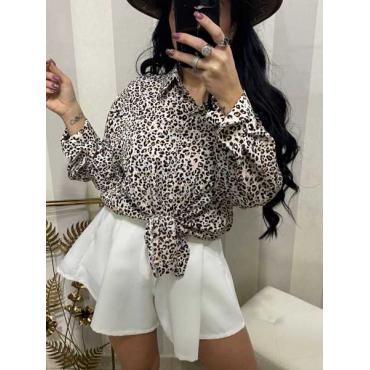 Camicia Con Collo Fantasia  Leopardata