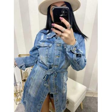 Giacca Di Jeans Lunga Con Cintura Tessuto Denim