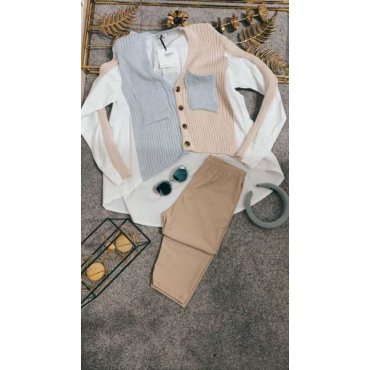Camicia Donna Cotone E Filo Bicolore