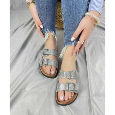 Sandalo Con 2 Fibbie Brillantinato