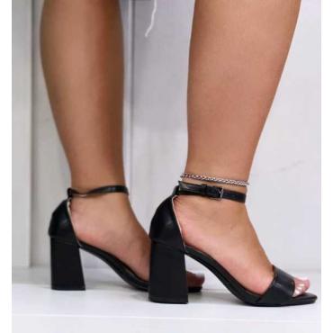 Sandalo Donna Con Cinturino  Alla Caviglia E Tacco Largo