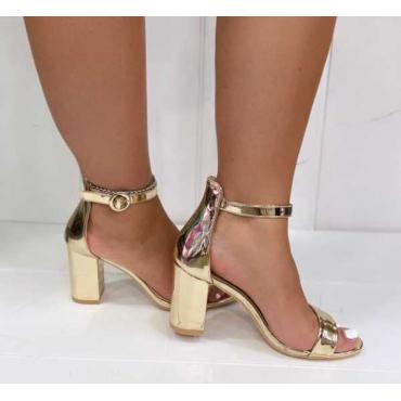 Sandalo Con Cinturino Alla Caviglia Comodo Con Tacco Largo