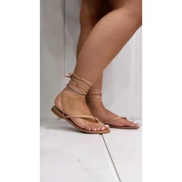 Sandalo Basso A Infradito Con Lacci Alla Caviglia