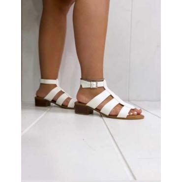Sandalo Basso Con Fasciature Sul Davanti E Cinturino Alla Cavigl