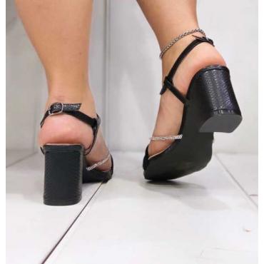 Sandalo Con Tacco Basso Quadrato Con Fascia Intrecciata In Camos