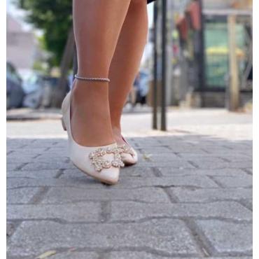 Ballerine Con Punta A Pizzo In Raso Con Applicazioni In Argento