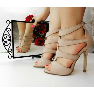 Sandalo Cipria Spuntato Tacco A Spillo E Zip Anteriore