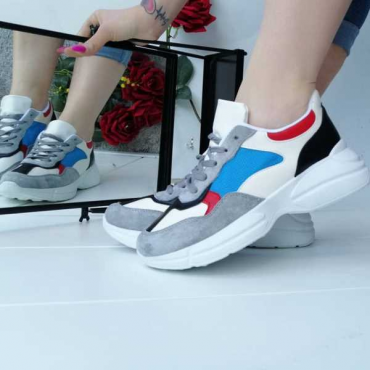 Sneakers Bicolore Modello Balenciaga  In Ecopelle E Tessuto Elasticizzato New Collection