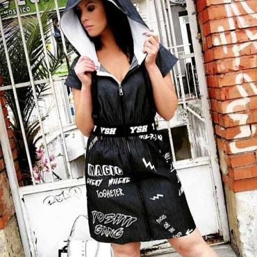 Yoshii Vestito Donna Con Zip E Cintura  Comleto  - Jeans
