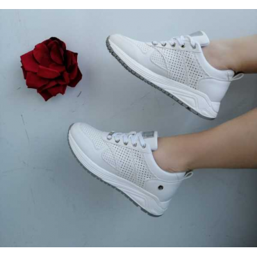 Sneackers Donna Con Zeppa Traforata Qualita Top  Bianco