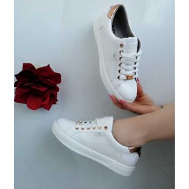 Sneakers Donna Basso Di Collo Con Stringhe  Bianco