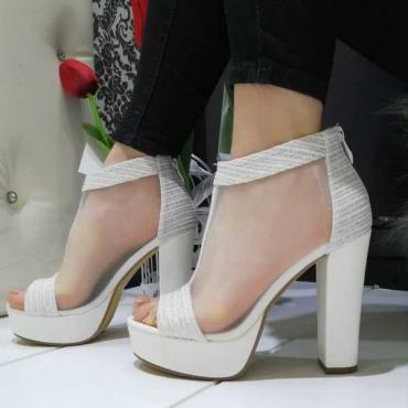 Sandalo Donna Con Tacco  Largo  E Plateao  Bianco