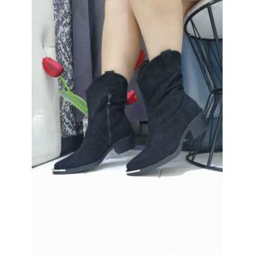 Campersos Donna Camoscio  Con Zip  Placca In Ferro  Tacco In Legno  Nero