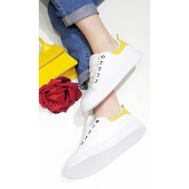 Sneakers Donna Con Stringhe E Banda Colorata Giallo