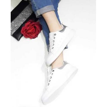 Sneakers Donna Con Stringhe E Banda Colorata Argento