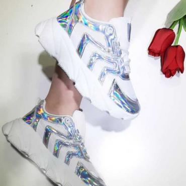 Sneakers Donna Con Zeppa  Con Stringhe