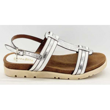 Sandalo Basso Bicolore Bianco E Argento  Molto Fine