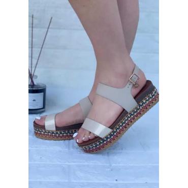 Sandalo Donna Con Zeppa  Doppia Fascia  Beige