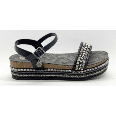 Sandalo Con Zeppa E Cinturino Alla Caviglia Con Borchie Decorate