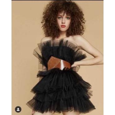 Vestito Donna In Tulle Con Spalline Rimovibile  Elastico In Vita