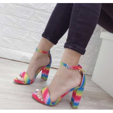 Sandalo Multicolor Con Cinturino Alla Caviglia E Tacco Largo