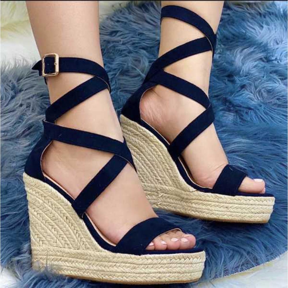 Sandalo Donna Con Zeppa E Fascia Incrocio Su Collo Piede