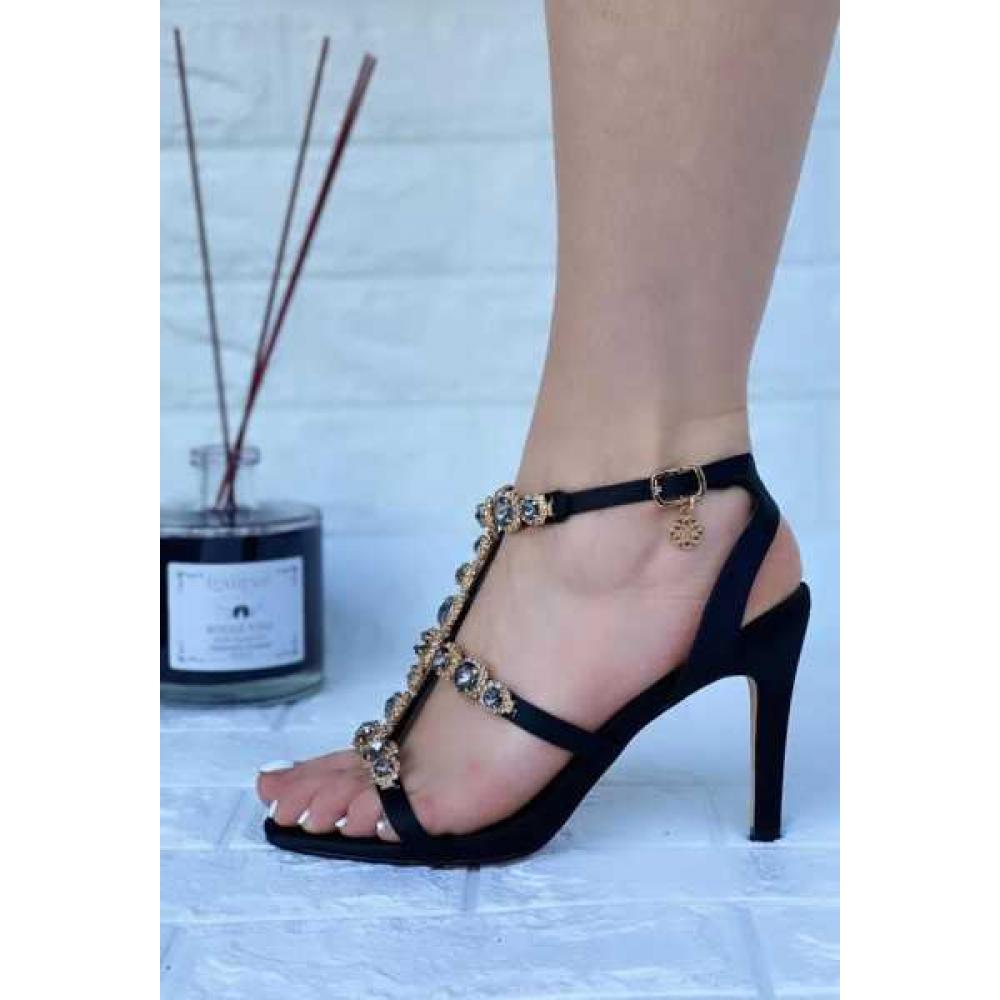 Sandalo Gioiello Con Tacco E Pietre Vera Pelle