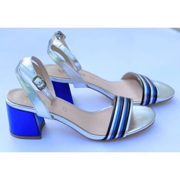 Sandalo Elegante Con Tacco Comodo  Tricolore Silver Blu