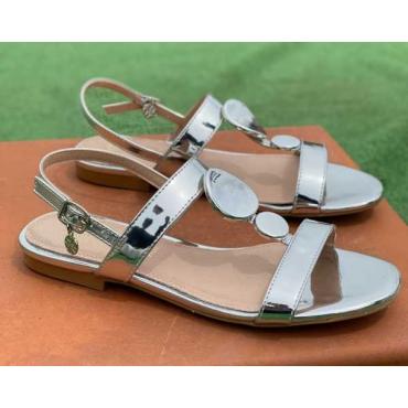 Sandalo Basso Con 2 Fasce Lucido Vera Pelle Silver