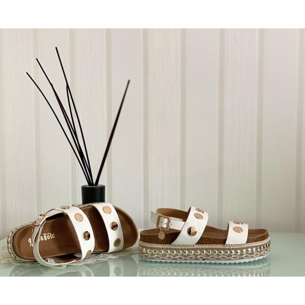 Sandalo Bianco Con Borchie Oro Doppia Fascia  - Bianco