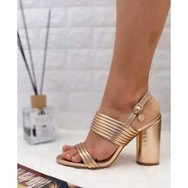 Sandalo Donna Con Doppia Fascia E Tacco Largo Gold